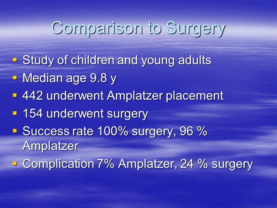 Comparison to Surgery Study of children and young adults
