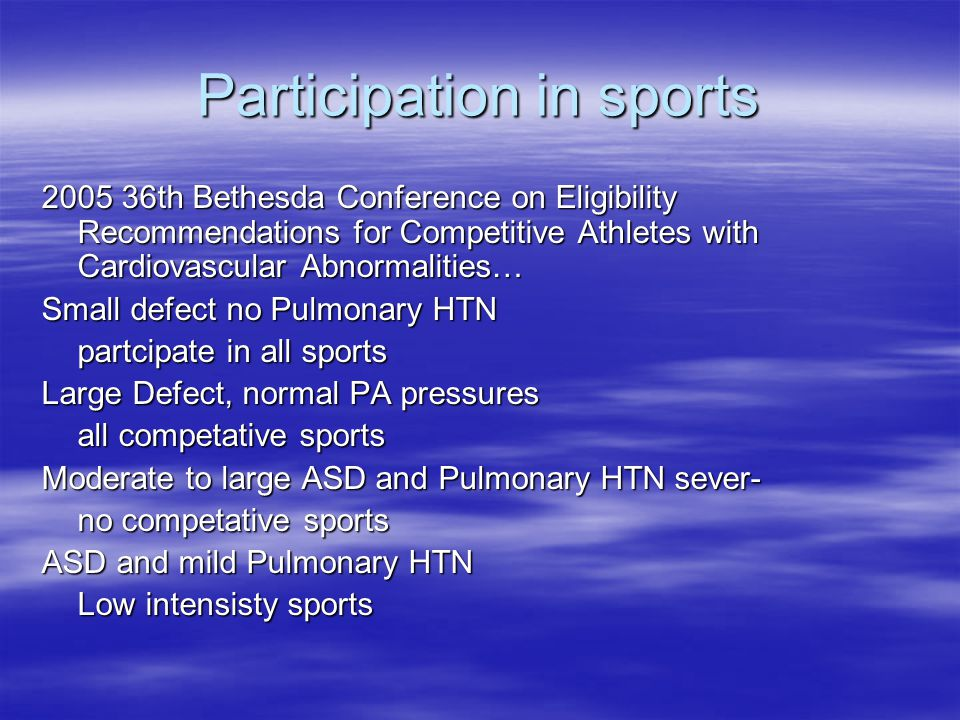 Participation in sports