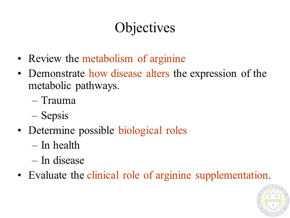 Objectives Review the metabolism of arginine