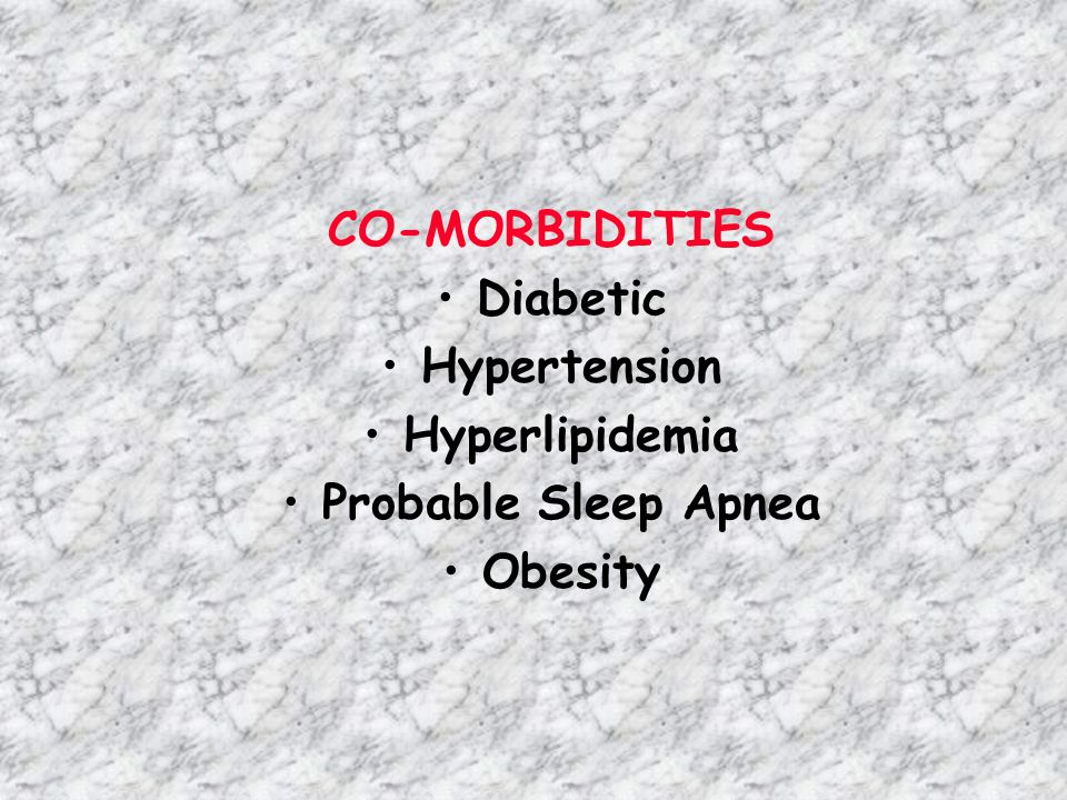 CO-MORBIDITIES Diabetic Hypertension Hyperlipidemia
