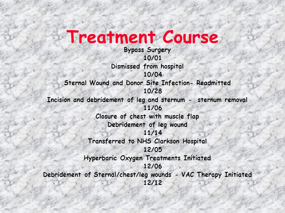Treatment Course Bypass Surgery 10/01 Dismissed from hospital 10/04