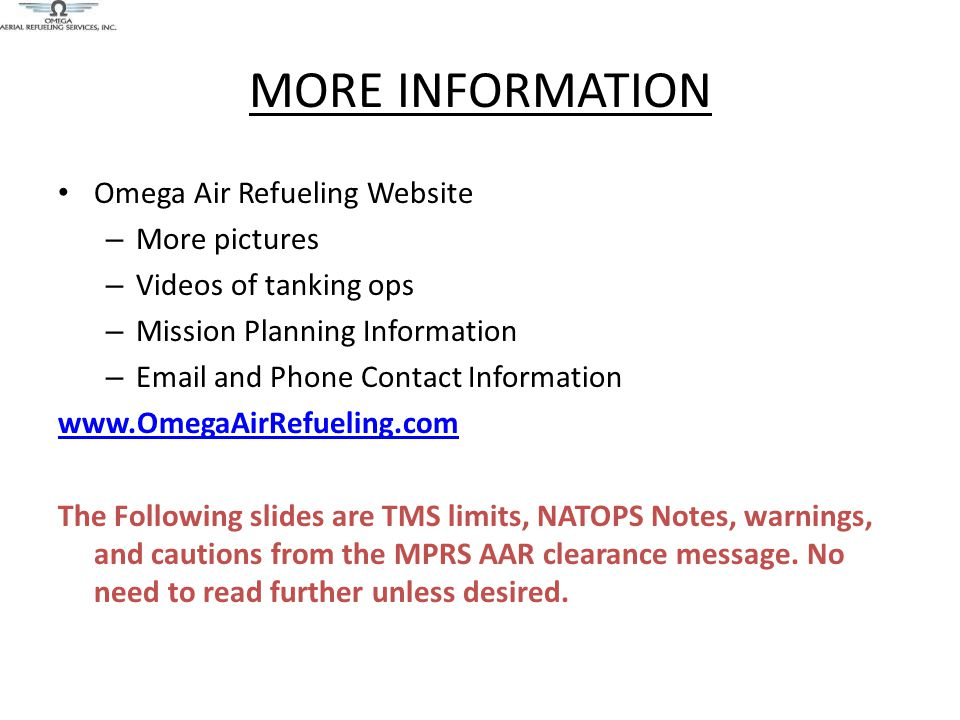 MORE INFORMATION Omega Air Refueling Website More pictures