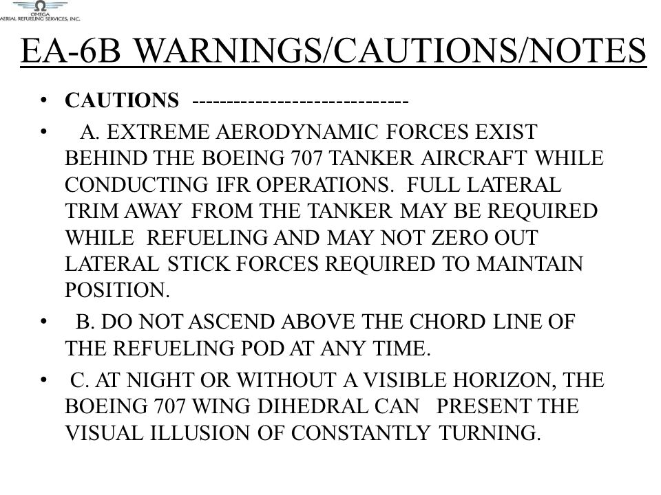 EA-6B WARNINGS/CAUTIONS/NOTES