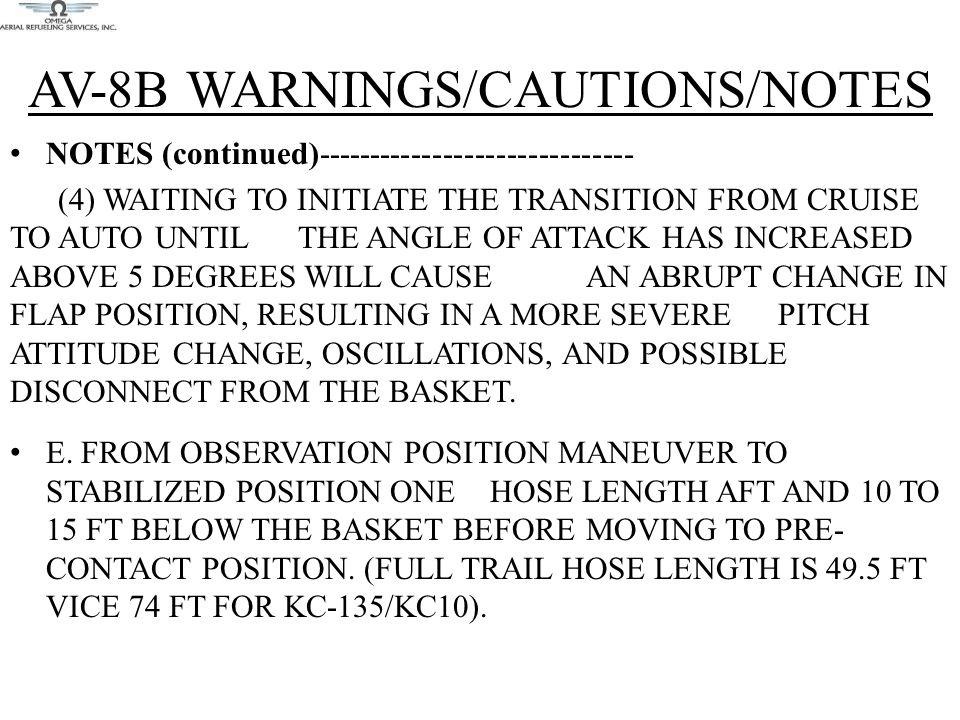 AV-8B WARNINGS/CAUTIONS/NOTES