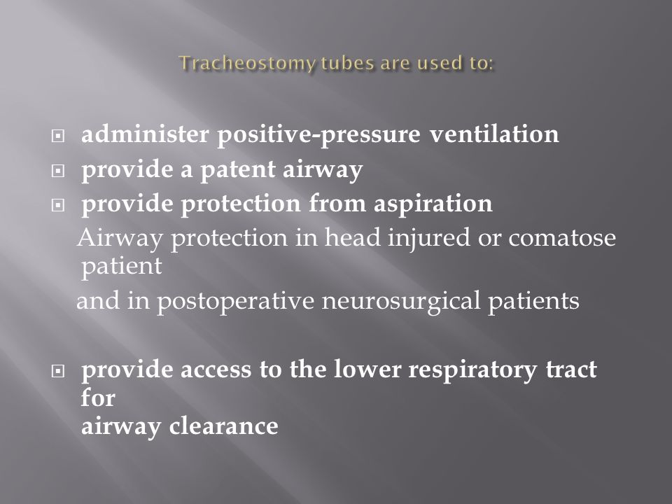 Tracheostomy tubes are used to: