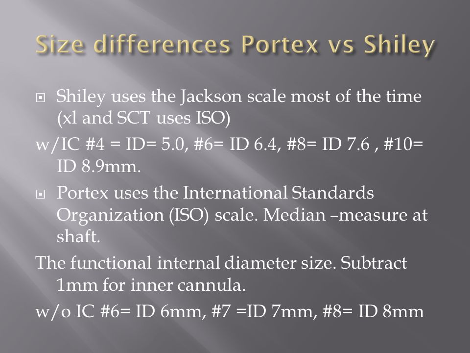 Size differences Portex vs Shiley