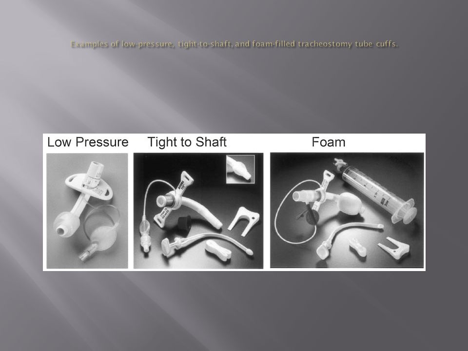 Examples of low-pressure, tight-to-shaft, and foam-filled tracheostomy tube cuffs.