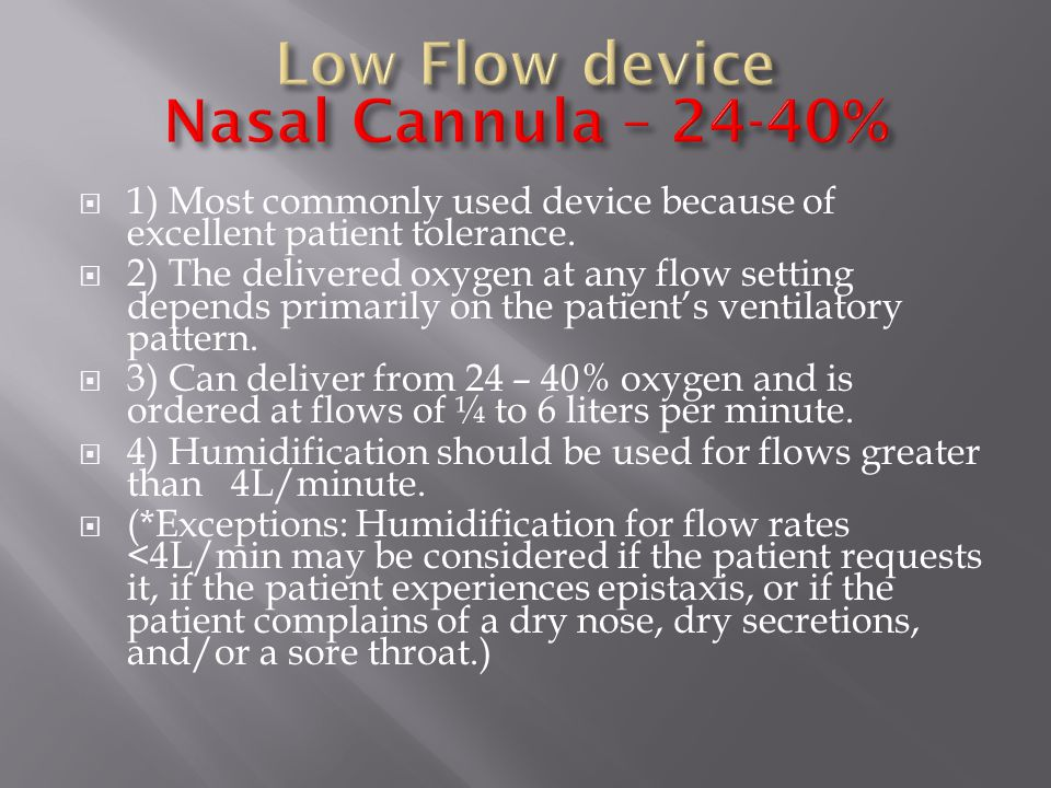 Low Flow device Nasal Cannula – 24-40%