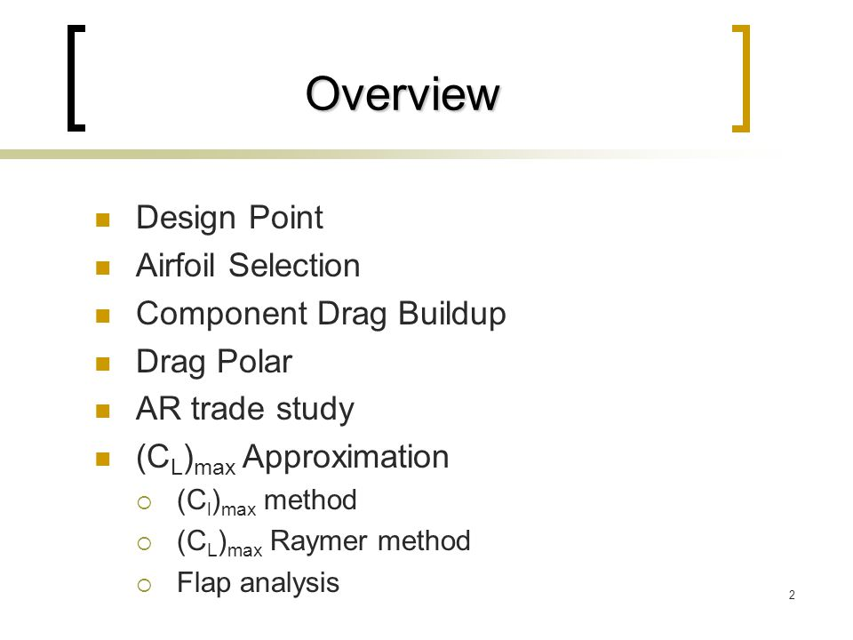 Overview Design Point Airfoil Selection Component Drag Buildup