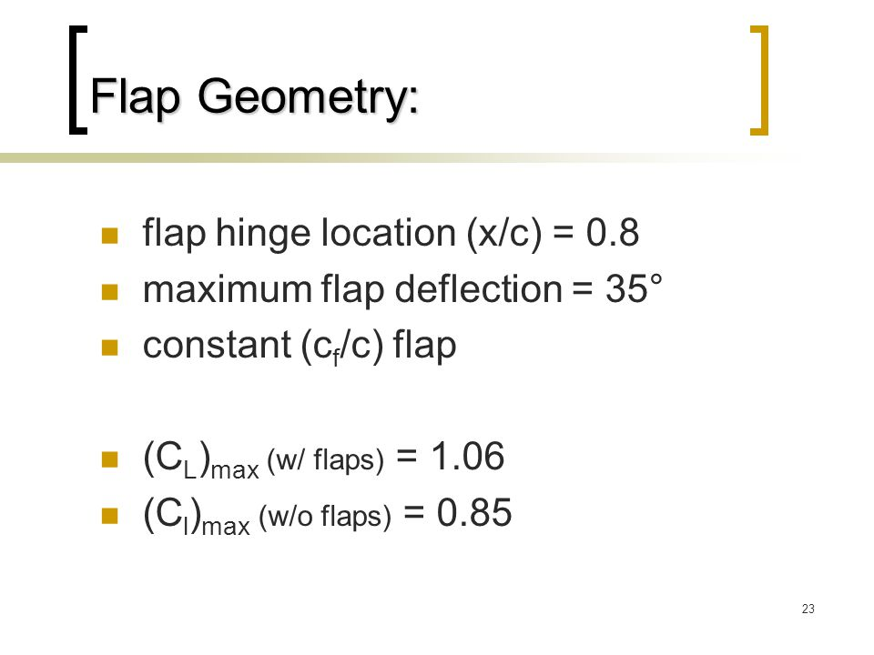 Flap Geometry: flap hinge location (x/c) = 0.8