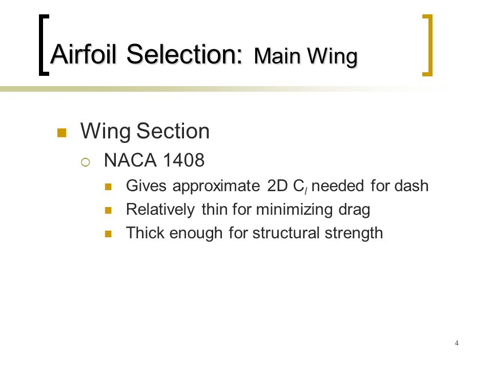 Airfoil Selection: Main Wing