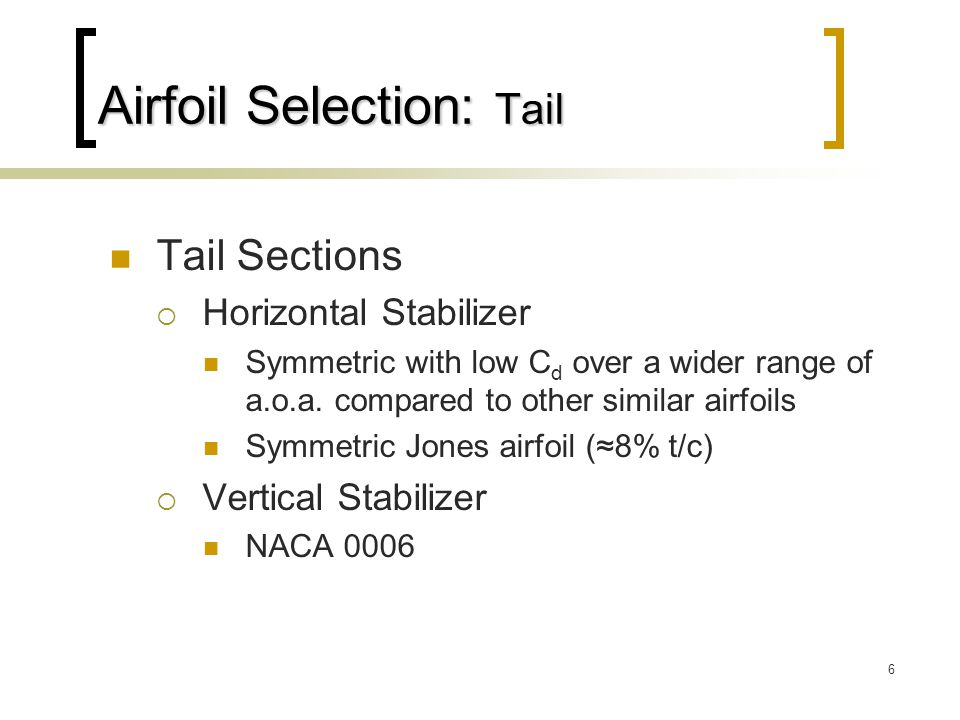 Airfoil Selection: Tail