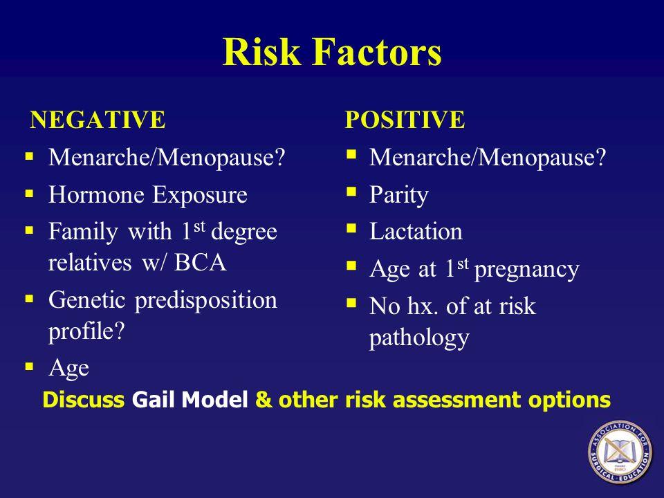 Risk Factors NEGATIVE Menarche/Menopause Hormone Exposure