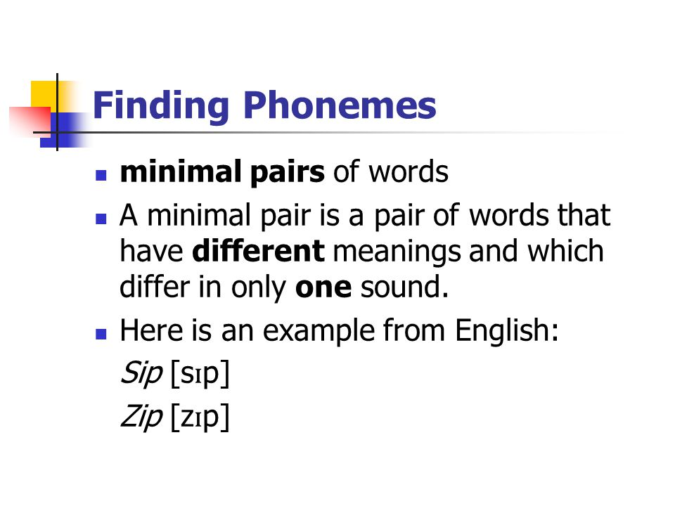 Finding Phonemes minimal pairs of words