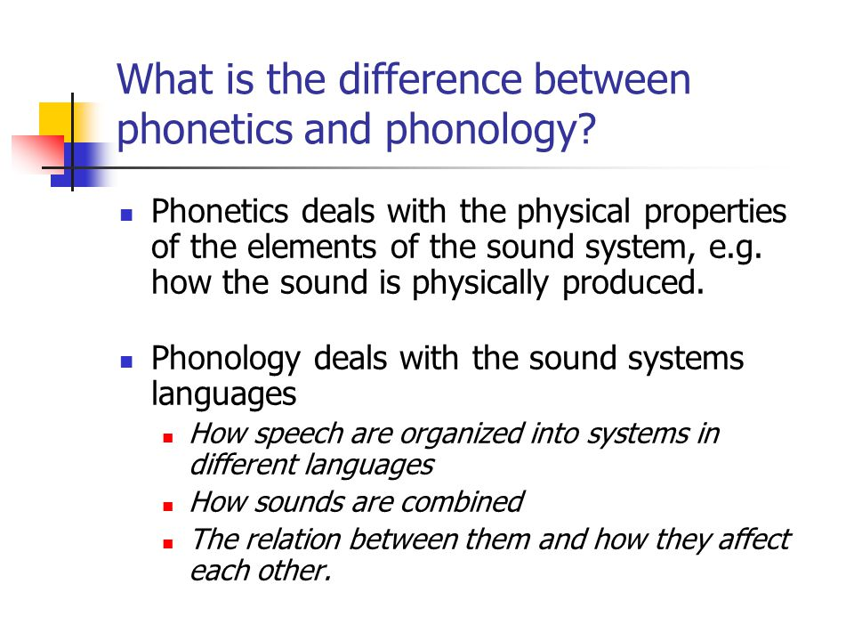 What is the difference between phonetics and phonology