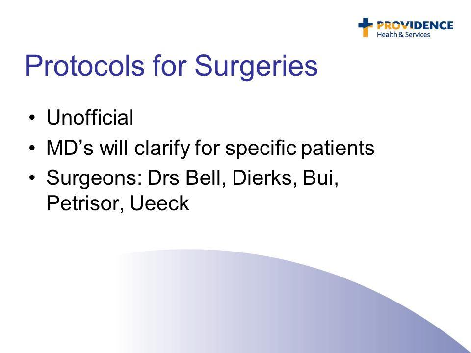 Protocols for Surgeries