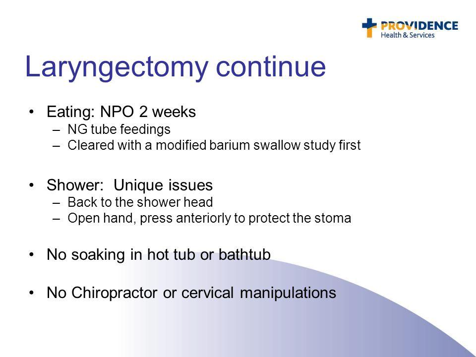 Laryngectomy continue