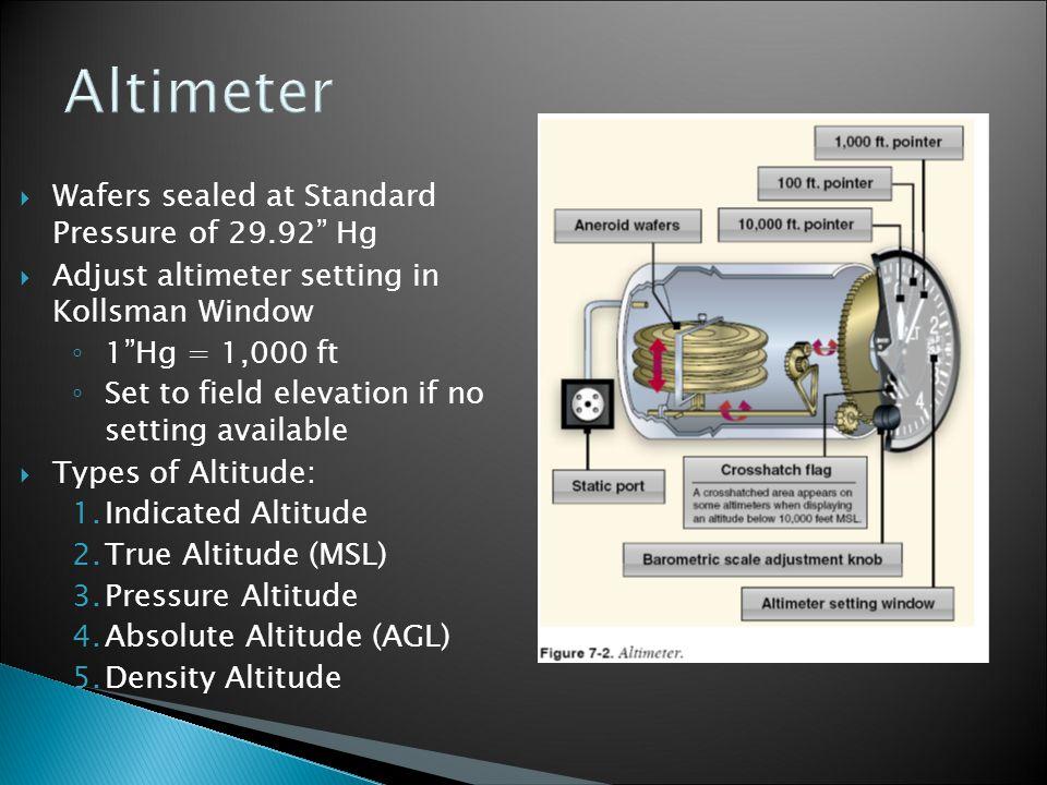 Altimeter Wafers sealed at Standard Pressure of 29.92 Hg