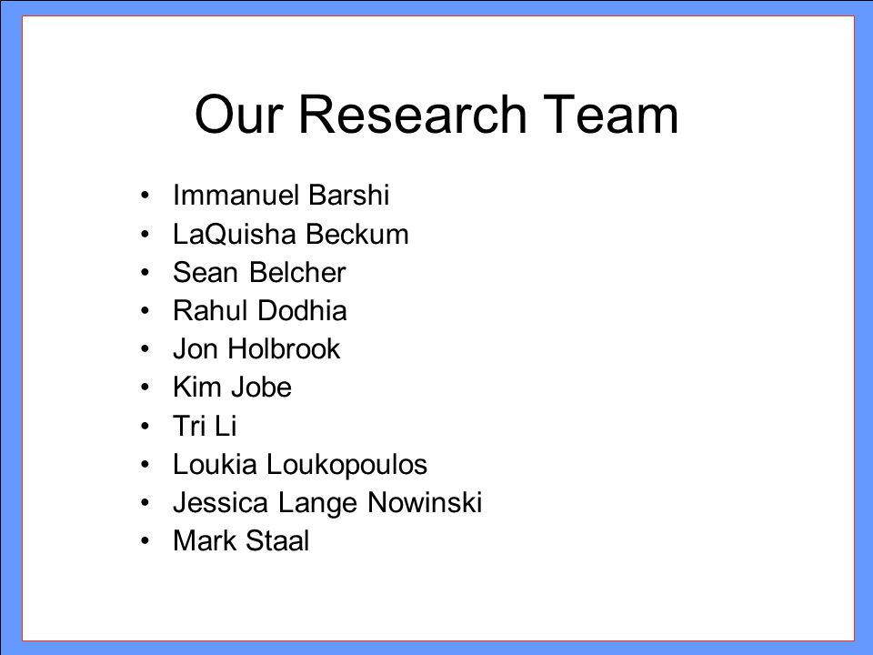 Our Research Team Immanuel Barshi LaQuisha Beckum Sean Belcher