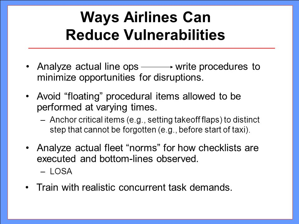 Ways Airlines Can Reduce Vulnerabilities