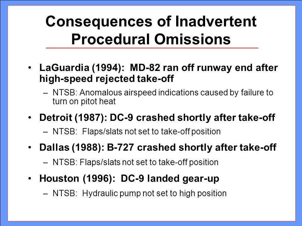 Consequences of Inadvertent Procedural Omissions