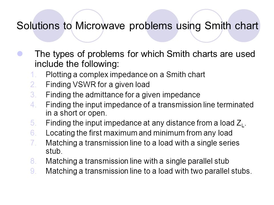 Solutions to Microwave problems using Smith chart