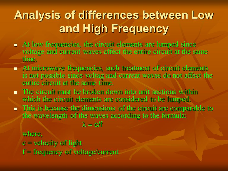 Analysis of differences between Low and High Frequency