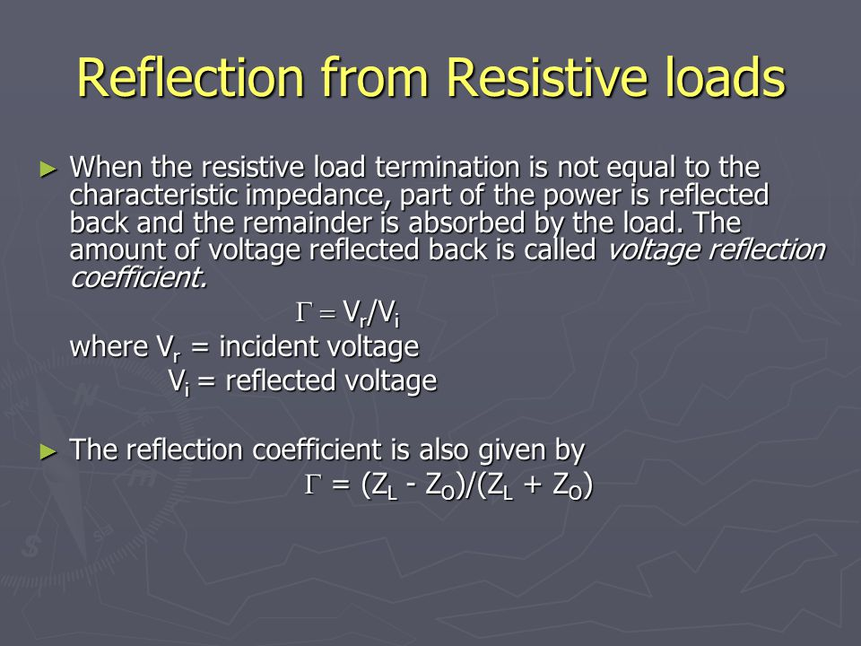 Reflection from Resistive loads