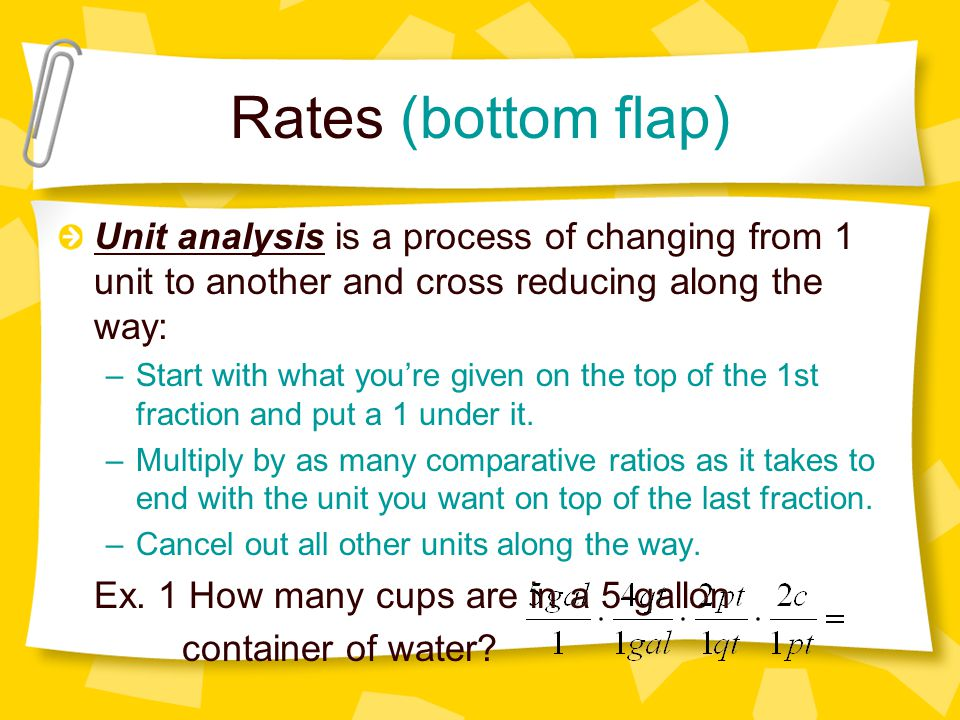 Rates (bottom flap) Unit analysis is a process of changing from 1 unit to another and cross reducing along the way: