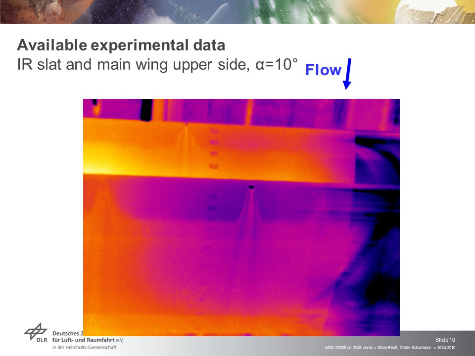 Available experimental data IR slat and main wing upper side, α=10°