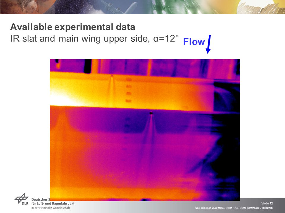 Available experimental data IR slat and main wing upper side, α=12°