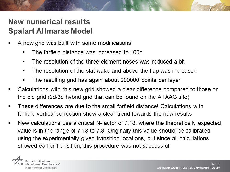 New numerical results Spalart Allmaras Model