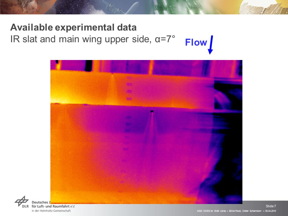 Available experimental data IR slat and main wing upper side, α=7°