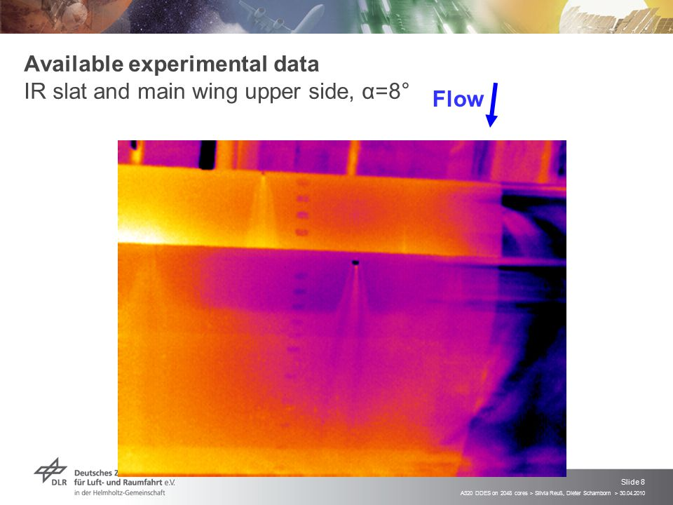 Available experimental data IR slat and main wing upper side, α=8°