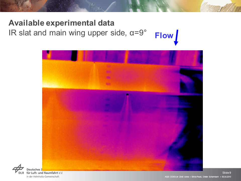 Available experimental data IR slat and main wing upper side, α=9°