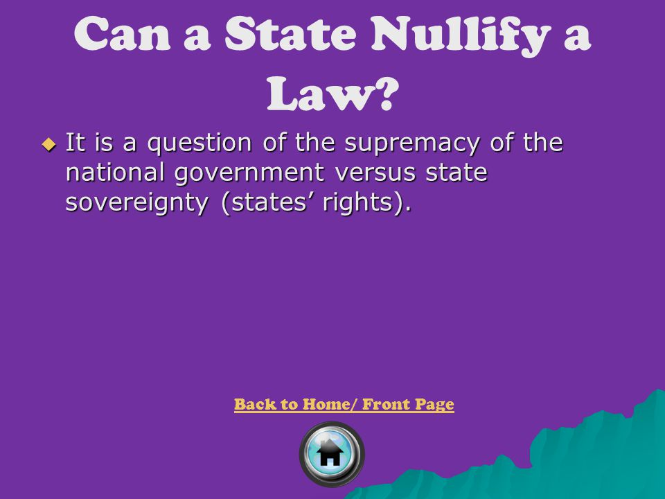 Can a State Nullify a Law