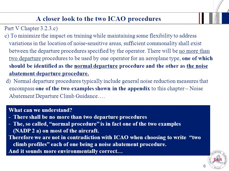 A closer look to the two ICAO procedures
