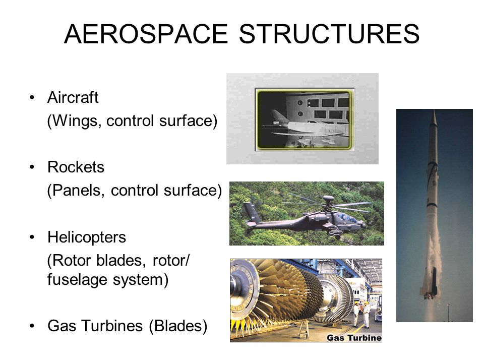 AEROSPACE STRUCTURES Aircraft (Wings, control surface) Rockets