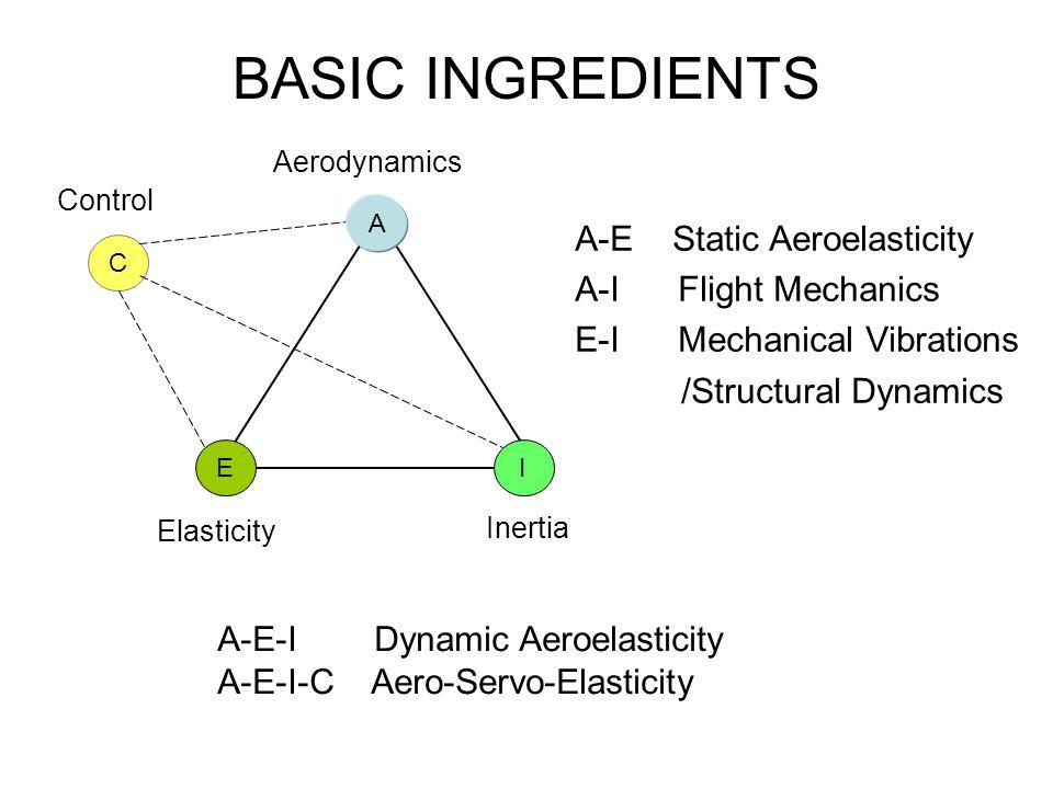BASIC INGREDIENTS A-E Static Aeroelasticity A-I Flight Mechanics