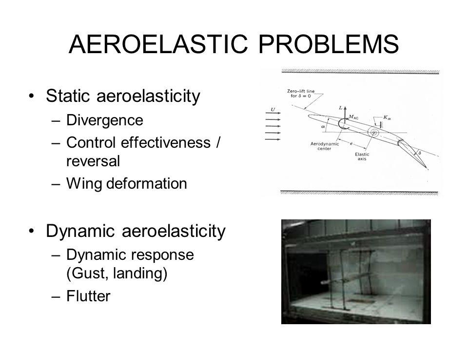AEROELASTIC PROBLEMS Static aeroelasticity Dynamic aeroelasticity