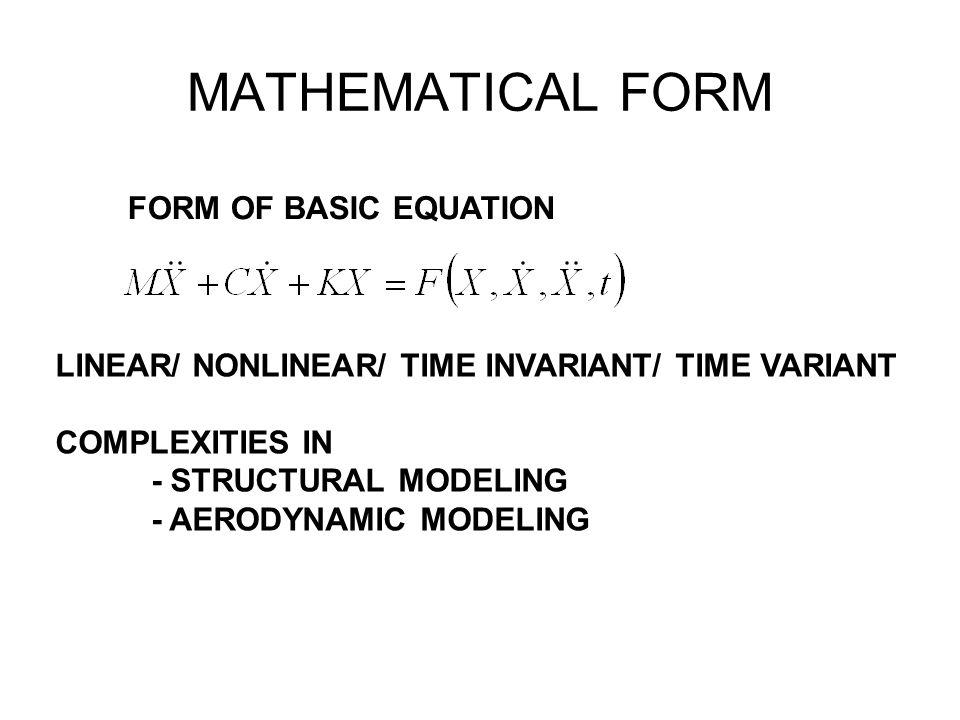 MATHEMATICAL FORM FORM OF BASIC EQUATION