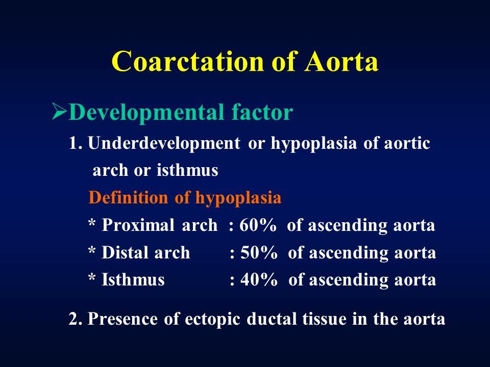 Coarctation of Aorta Developmental factor