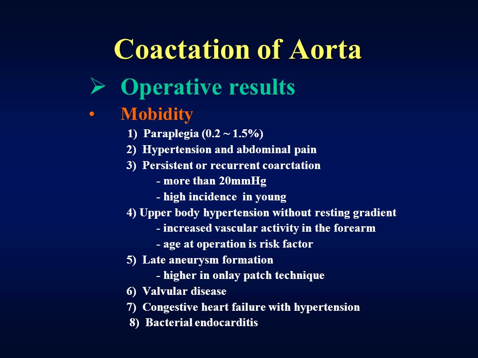 Coactation of Aorta Operative results Mobidity