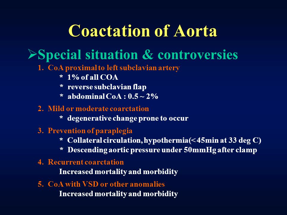 Coactation of Aorta Special situation & controversies
