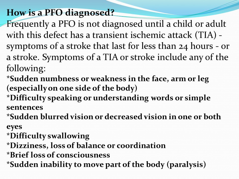 How is a PFO diagnosed
