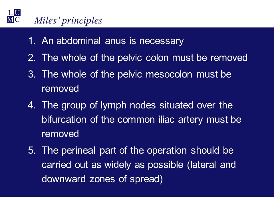 Miles' principles An abdominal anus is necessary. The whole of the pelvic colon must be removed. The whole of the pelvic mesocolon must be removed.