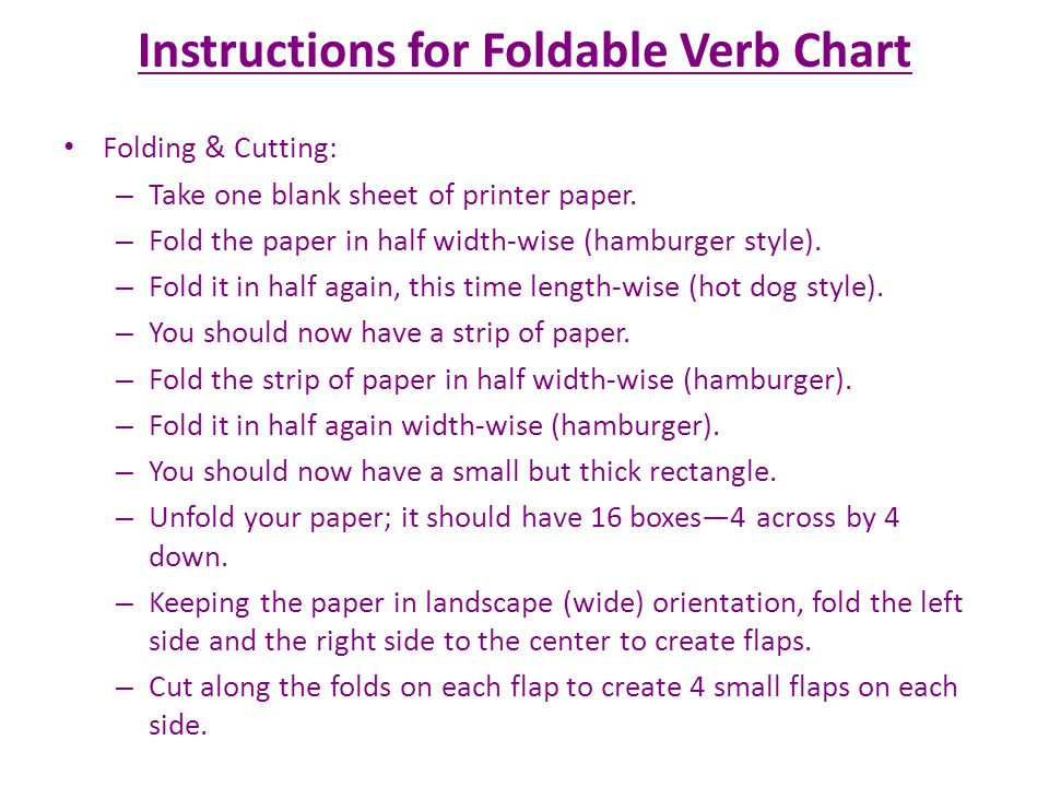 Instructions for Foldable Verb Chart