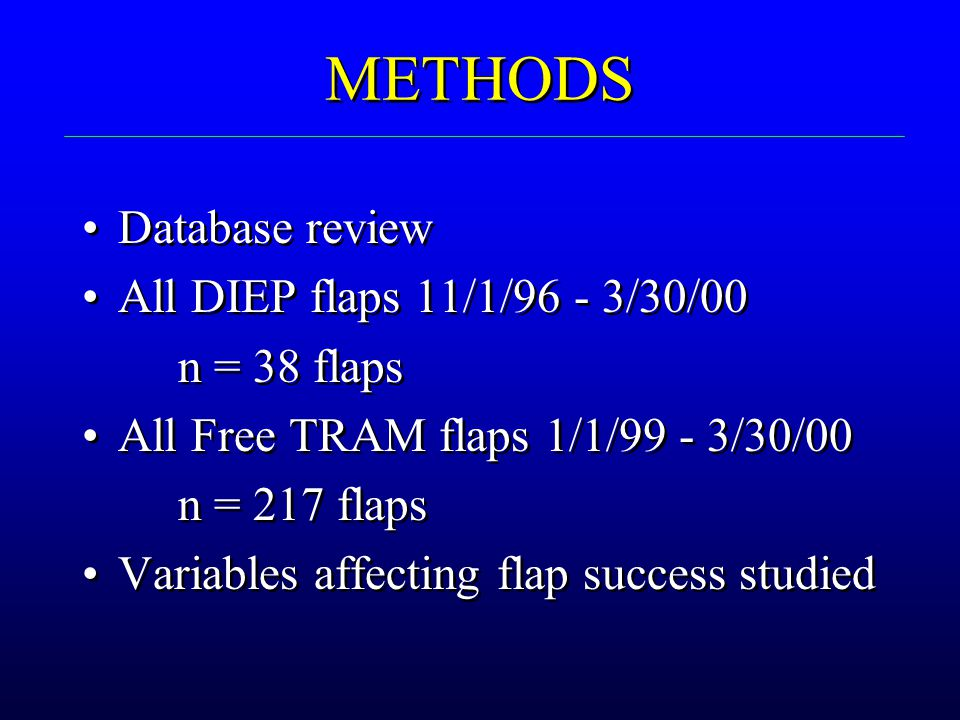 METHODS Database review All DIEP flaps 11/1/96 - 3/30/00 n = 38 flaps