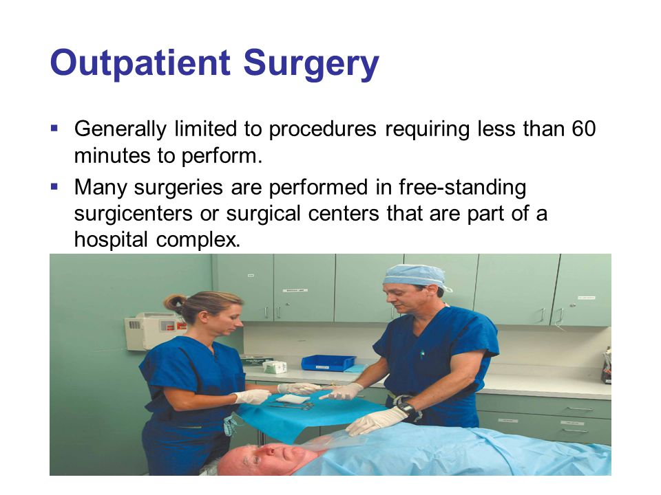 Outpatient Surgery Generally limited to procedures requiring less than 60 minutes to perform.