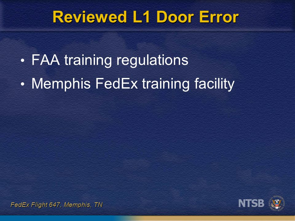 Reviewed L1 Door Error FAA training regulations